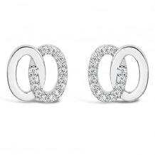 Beautiful Double Ring Cubic Zirconia Imitation Rhodium Earrings